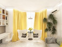 Gule gardiner - 50 fotos af ideer i det indre: stue, køkken, soveværelse. (Moderne gardinyheder)