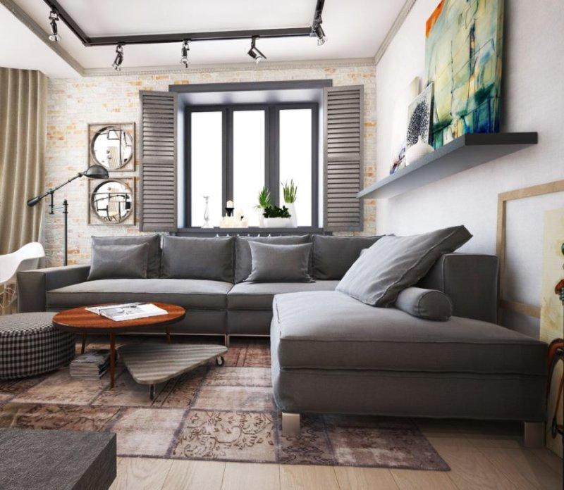 Design af en moderne stue med pejs