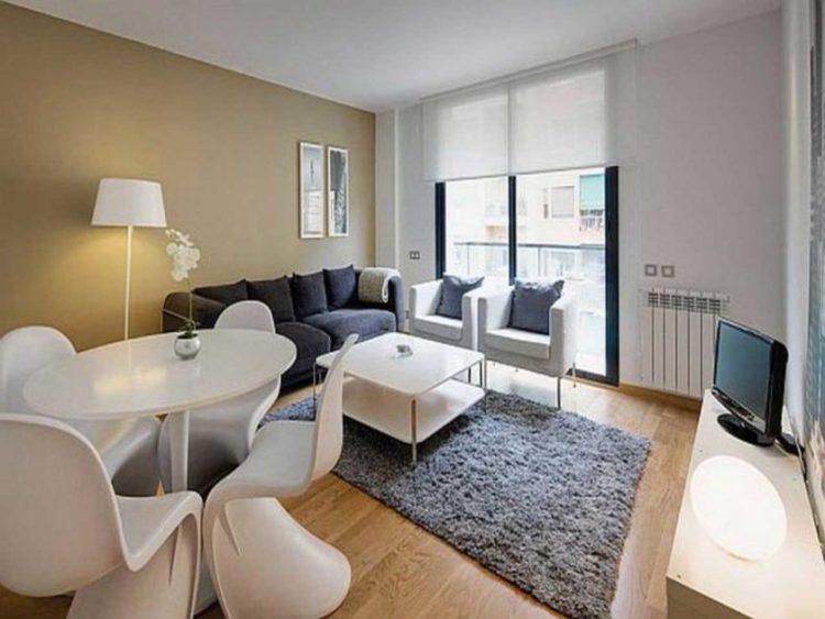 studie-moderne-interiør-design-for-små-stue-lejligheder-ideer-med-elegant-hvid-square-spisebord-design-og-yndig-grå-fjer-tæppe-id