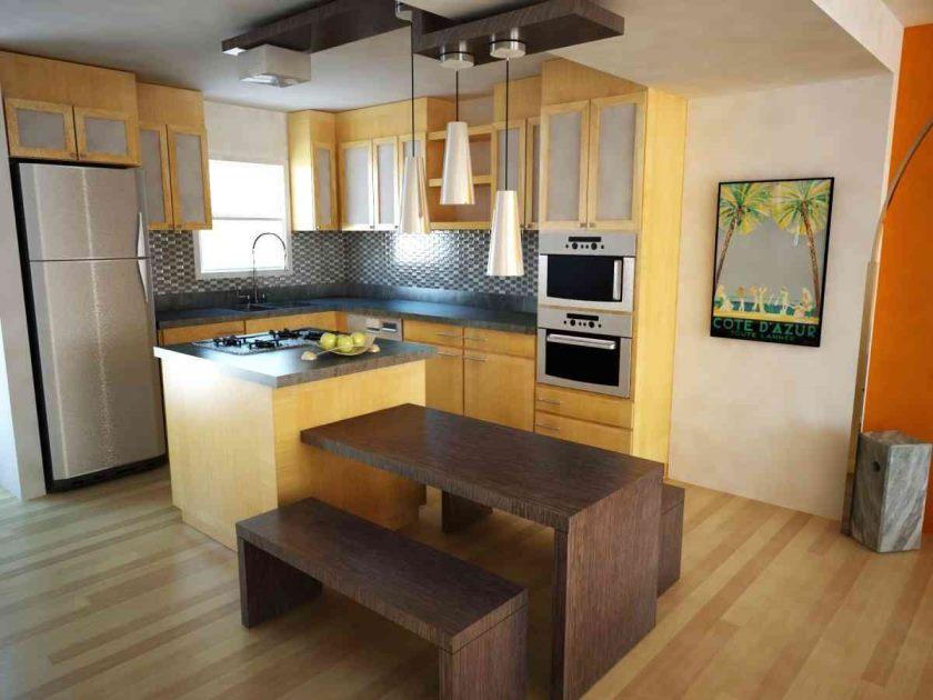 fantastisk-trendy-lille-køkken-design-med-træ-kabinet-møbler-sæt