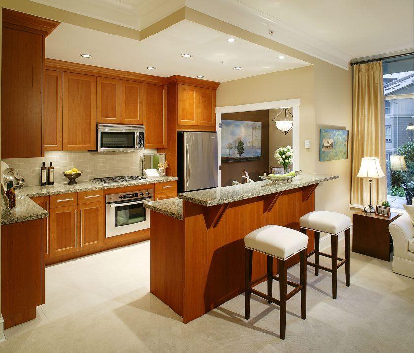 interiør-køkken-inventar-dejlig-interiør-lille-køkken-idéer-featuring-forbavsende-grå-granit-bordplade-og-moderne-møbler-fascinerende-brun-træ-bund-kabinet-the-best-interiør-design- wi