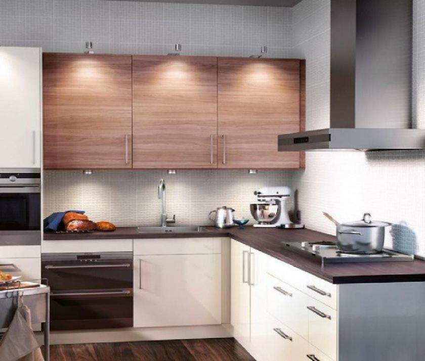 køkken-opbevaring-elegant-ikea-small-køkken-inventar-sæt-med-hvid-hårdttræ-kabinet-storage-kombinere-med-fritstående-bambus-køkken-frysere-in-l-formet små-køkken- decors-regaling-bambus-kit