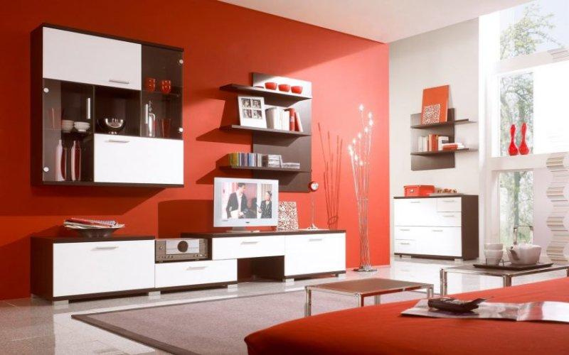 minimalistisk-stue-stue-design-maroon-væg-skema-med-rummelig-glas-væg-skema-væg-mount-shelf-og-shelv