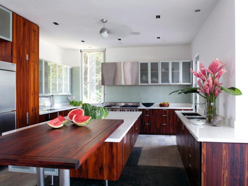 moderne flot design-of-the-køkken-bordplader-med-træ-lignende-table-at-har-hvid-loft-og-også-væg-can-add-de-moderne-føler-inside-the- moderne-hus-design-ideer-at-dejlig-1170x878