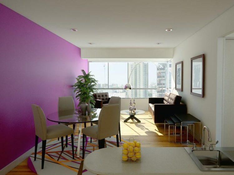 moderne-meget-lille-stue-rum-design-ideer-med-hvid-lilla-maleri-væg-også-sort-læder-sofa-siden-wide-glas-vindue-og-spise-set-in-the- i nærheden