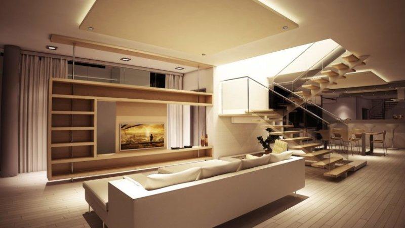 salon-Salony-nowoczesne-i-køkkenet-loft-belysning-dekoration-og-billeder