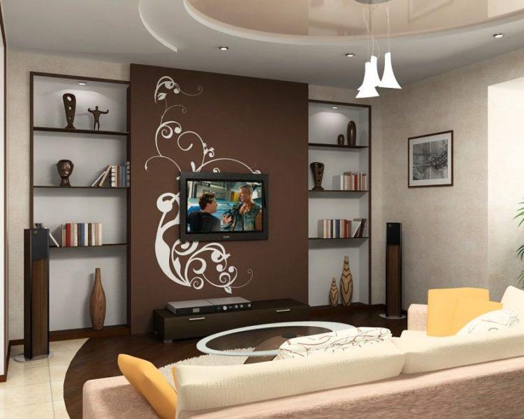 fantastisk-meget-lille-stue-rum-design-ideer-med-belysning-loft-inklusive-tv-på-brun-tapet-siden-hylder-on-the-wall