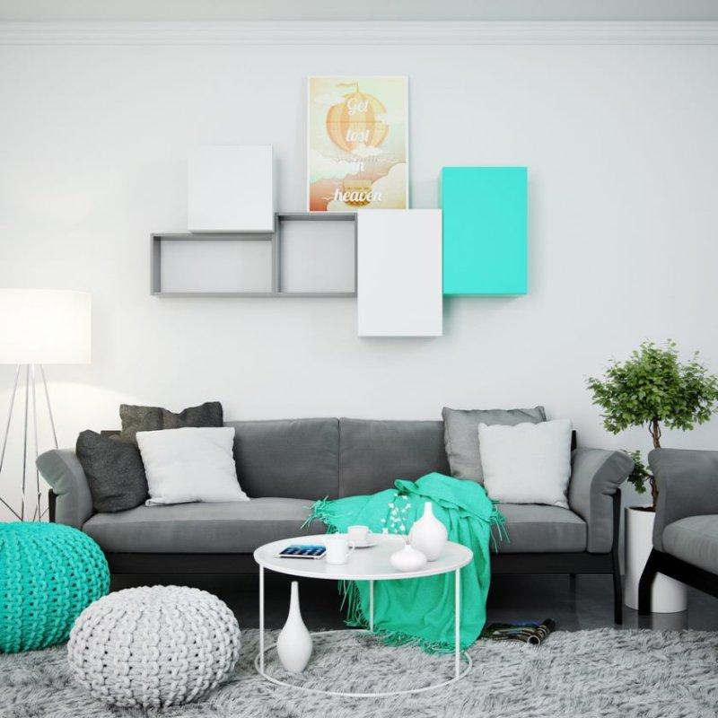 turkis-stue-med-modulære-væg-hylder-og-kabinet