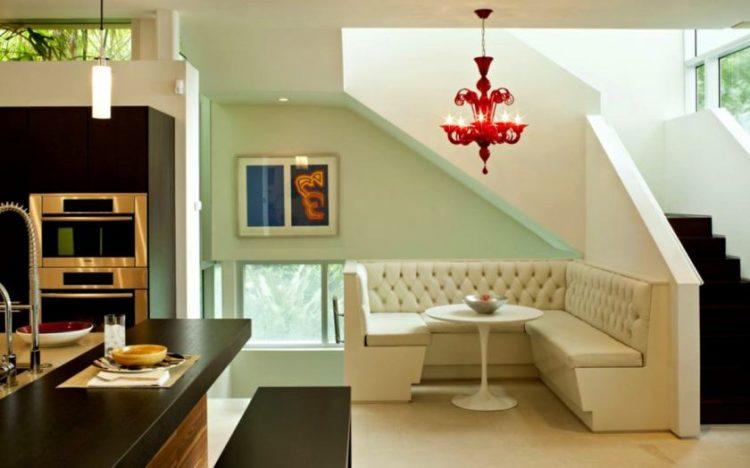 hvid-kaffe-table-rød-lysekrone-lampe-moderne-stue-spisestue-designs-minimalistisk-lounge-spisning-værelse-model-stue-spisestue-designs-spisning-r