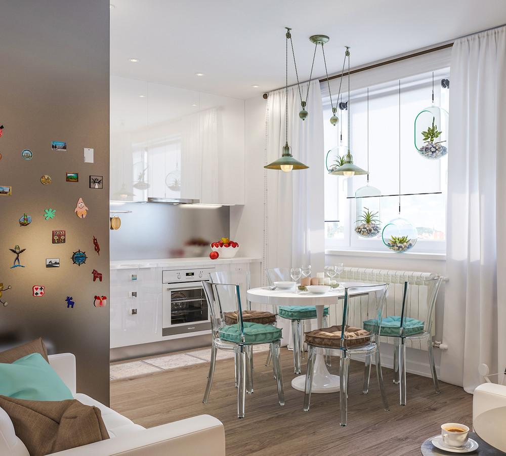 Lys køkken-stue med turkise accenter