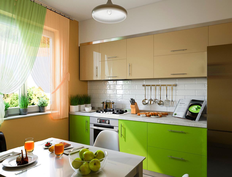 Illustration-3d-de-cuisine-avec-façades-beige-et-verte