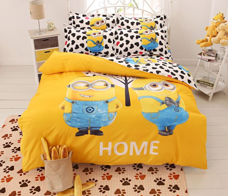 tegneserie-font-b-sengetøj-b-font-set-4stk-udskrivning-cama-håndlangere-sengetøj-dyne-cover-seng-ark