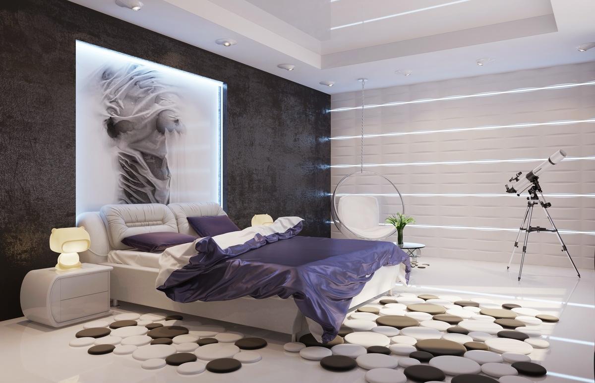 moderne-lilla-hvid-sort-værelses