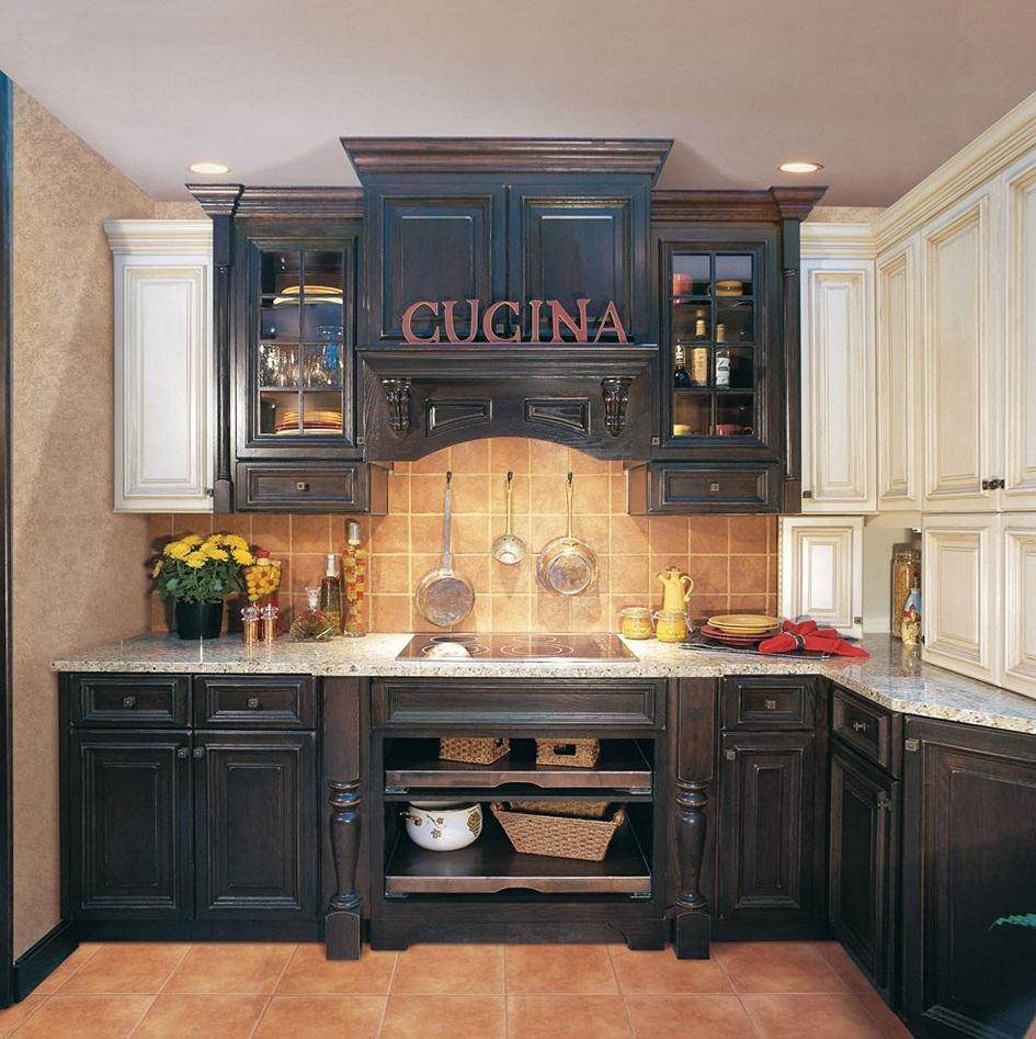 armoires de cuisine en détresse-noir
