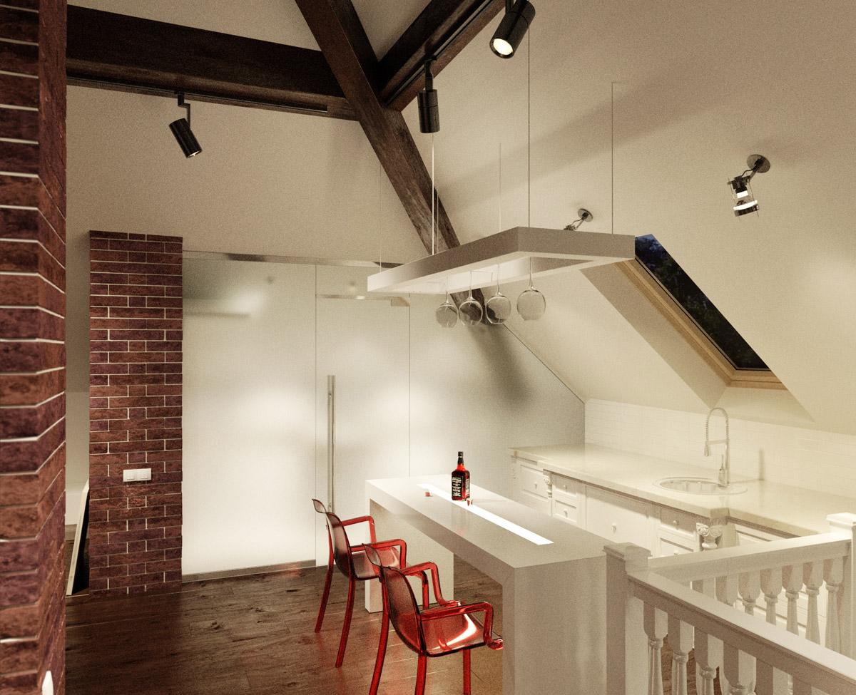 vidunderlige-interiør-små-lejlighed-køkkener-med-lange-table-under-loft-lamper-plus-rød-lænestole-plus-cute-kabinet-in-the-edge-of-værelse