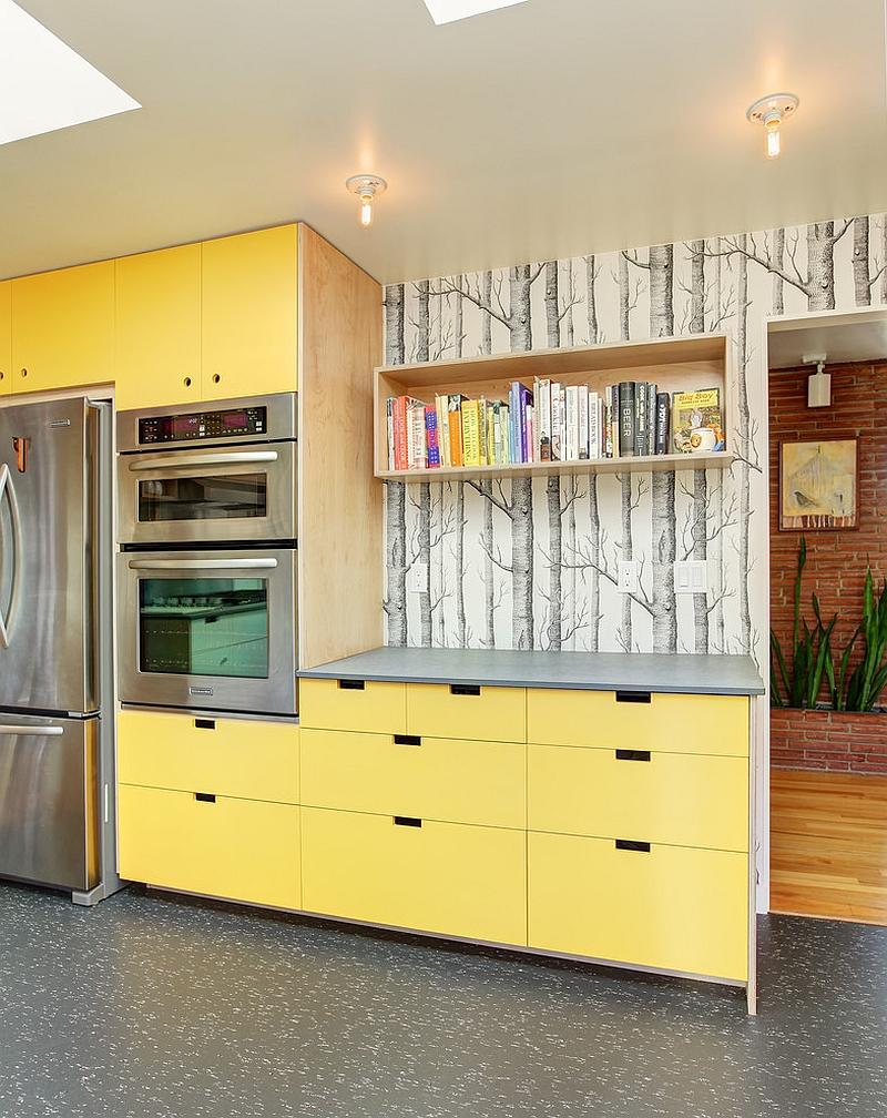 bois-papier peint-dans-la-cuisine-moderne