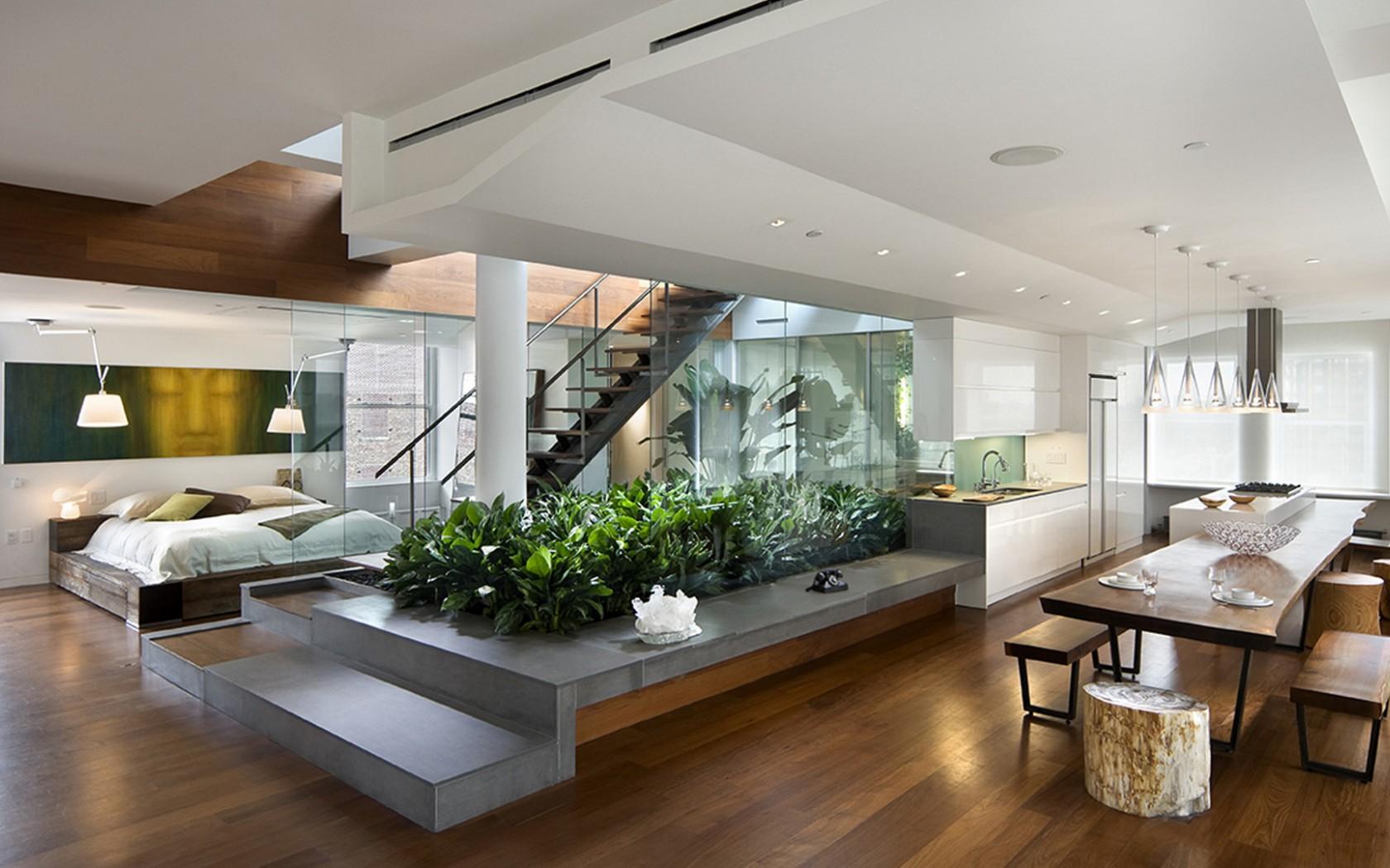 lejlighed-interiør-design-moderne-køkken-stue-hjemmelavede friske-lys-minimalistiske-planter