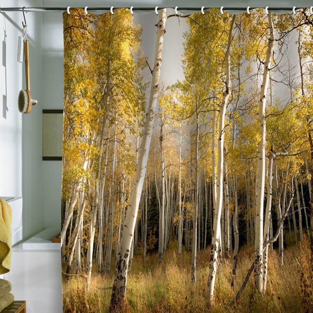 badeværelse-pragtfulde-ideer-til-badeværelse-dekoration-design-hjælp-skov-landskab-bad med bruser-forhæng-med-Valance-sammen-med-rustfrit stål-badekar-gardin-stang-fantastisk-badeværelse-dekorations- ideer-os