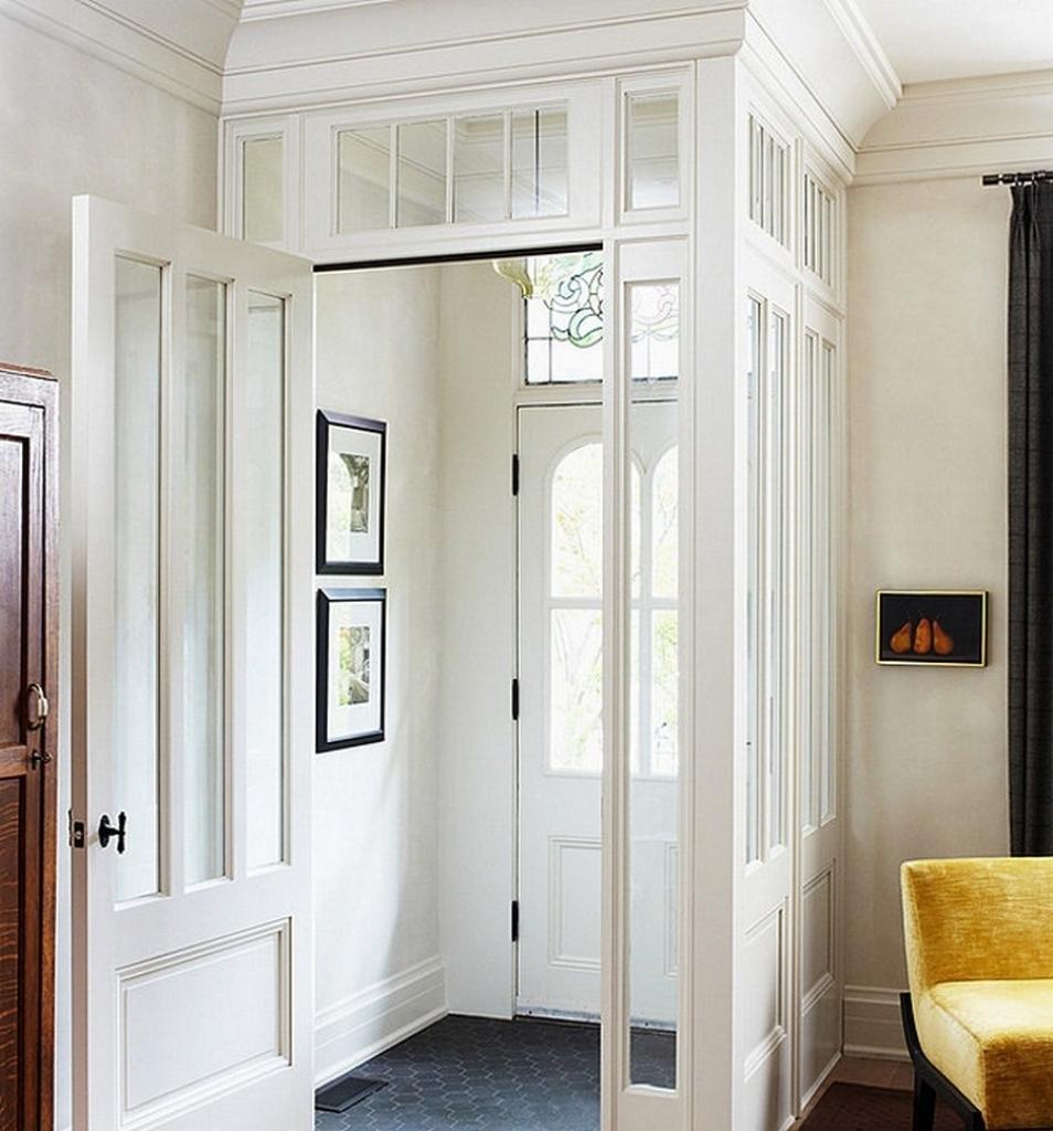 Belles idées de décoration vestibule d'entrée avec des idées de tuiles hexagonales grises - Meubles de bureau