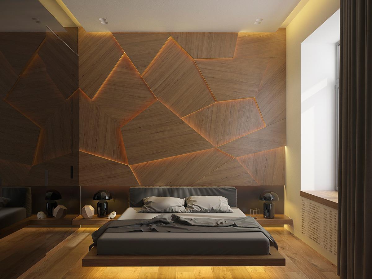 soveværelse-accent-væg-med-unik-belysning