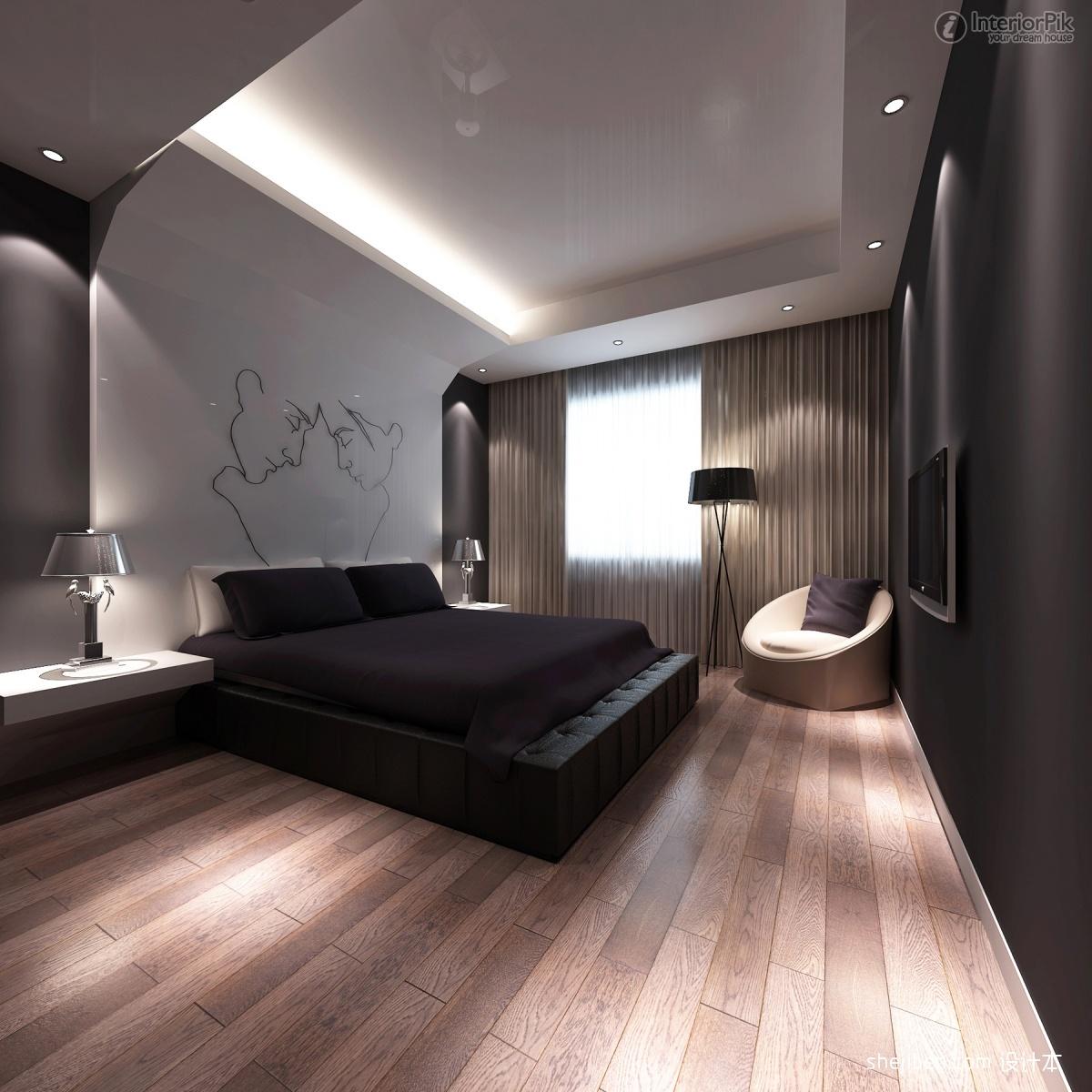 soveværelse-design-2013-superb-moderne-værelses-design-ideer-2013-interiør-udsmykning-møbler-med-reccessed-lys-også-engineering-træ-gulv-og-stående-lampe-feat-moderne-rounded- stol