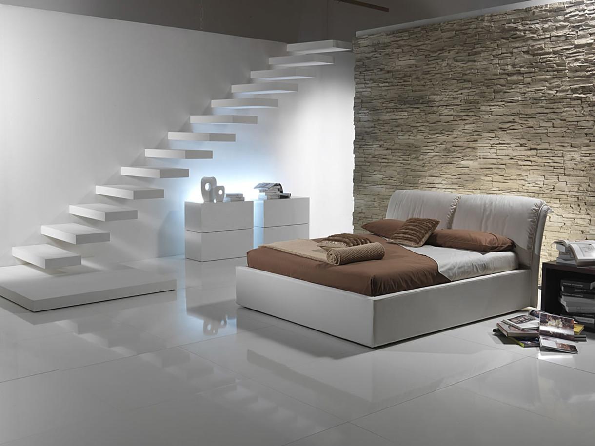 chambres-merveilleuse-chambre-lumineuse-2014-avec-carrelage-en-céramique-blanc-et-chevet-marron-aussi-mur-en-pierre-texturée-sous-escalier-20-collections-de-populer-chambre- conception