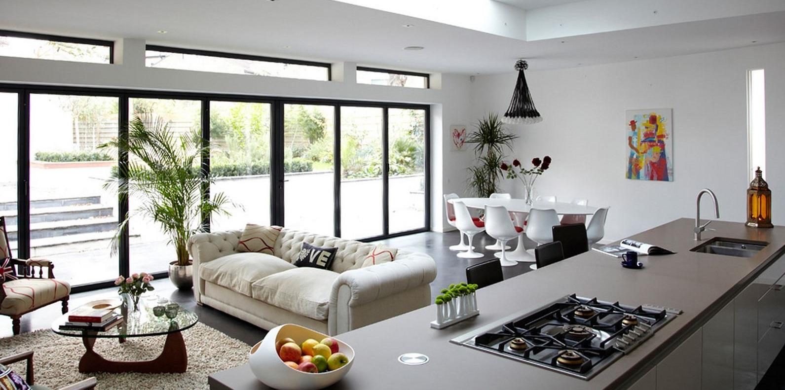 kombinere-køkken-og-stue-interiør-udsmykning