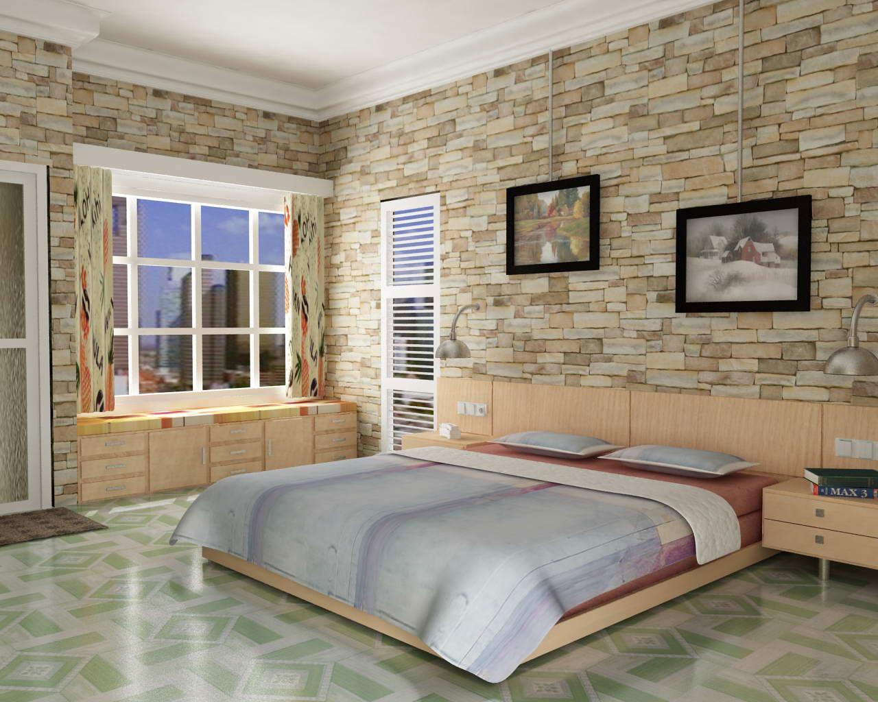 moderne soveværelse-design-med-naturlig-sten-væg-udsmykning-være-udstyret-store-glas-vindue-med-hvid-træ-frame-plus-grøn-keramik-gulve-under-glat-slebet-kirsebær- træ-bed-frame-som-har-laks-ki