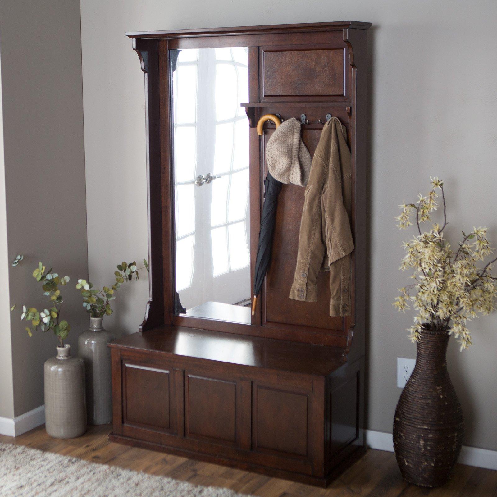 meubles-personnalisé-petit-organisateur-entrée-coin-banc-avec-brun-foncé-bois-entrée-banc-avec-avec-miroir-idées-porte-manteau-petit-entrée-banc-avec-brillant-innovant- stockage-et-sans-sto