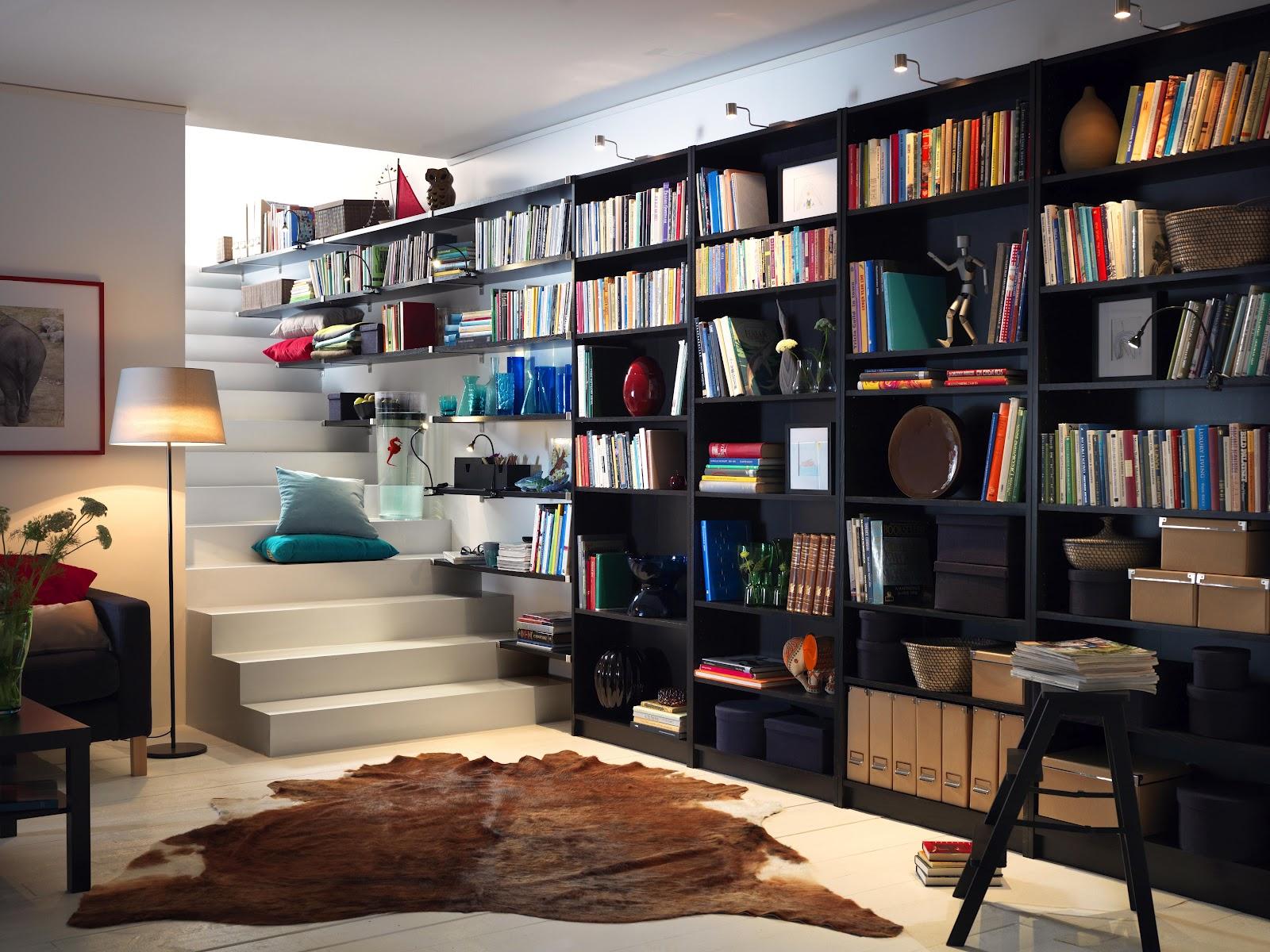 stor-væg-ikea-kreativ-boghylder-struktur-klarer-grand-monterede-væg-hylder-og-reoler-enhed-kombination-på-sort-toner-sammen-med-ledede-Focus-Lighting-ideer-ikea- kreative-boghylder-hjem-dec