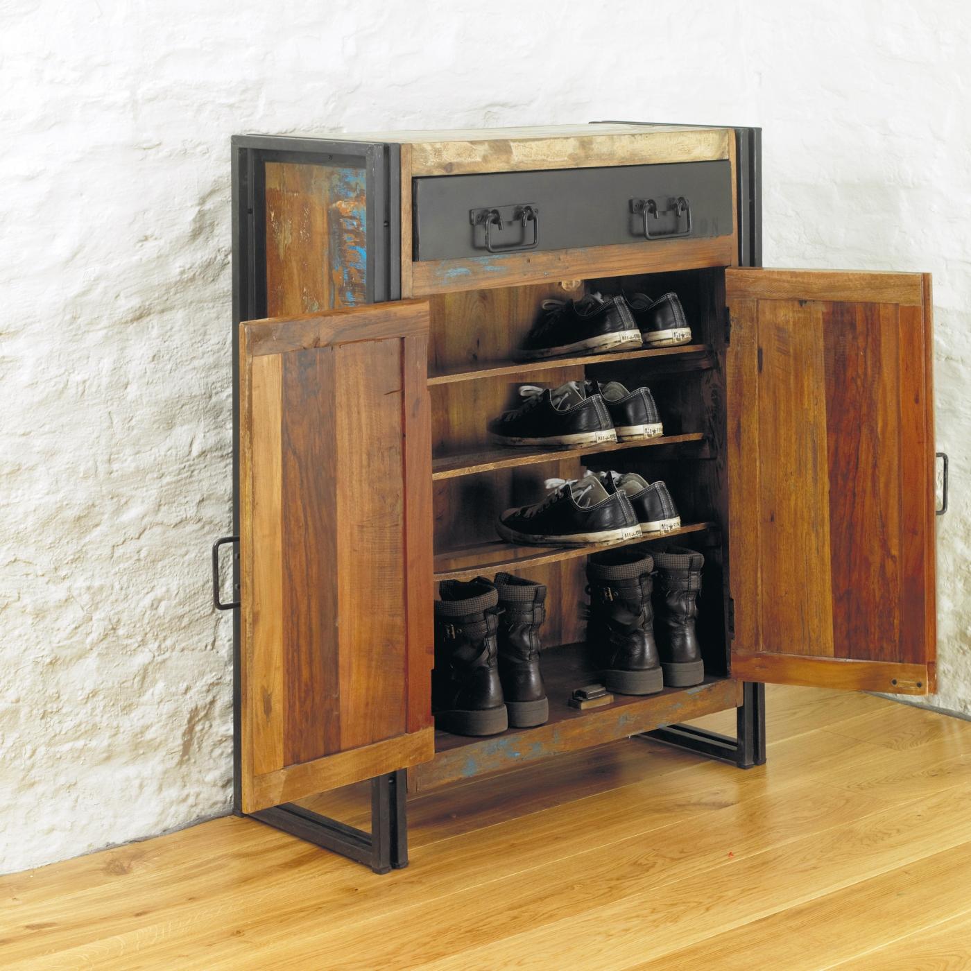 idée d'agra solide bois récupéré couloir armoire à chaussures armoire de rangement ebay
