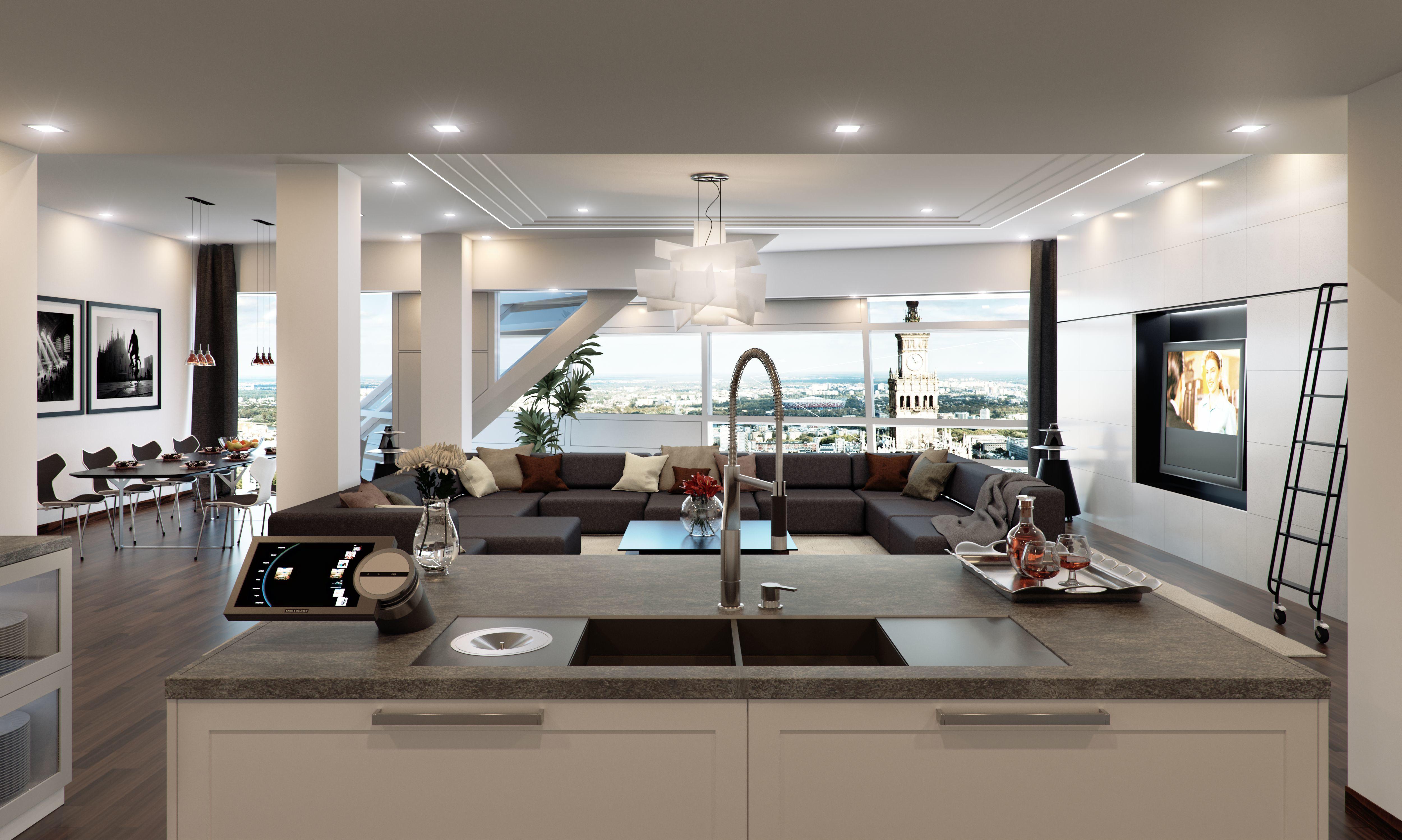 interiør-luksus-hotel-lejlighed-køkken-stue-table-stole-sofa-tv-bord