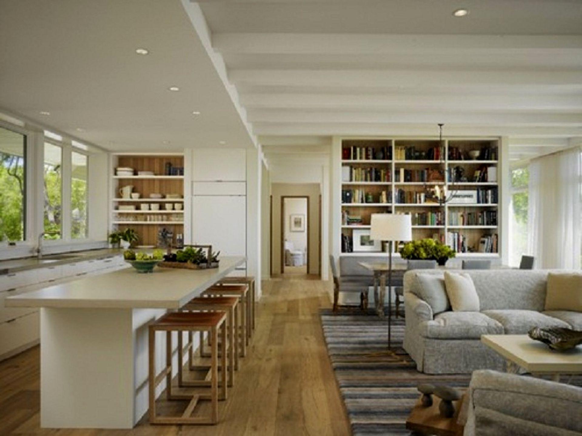 køkken stue åben plan design ideer