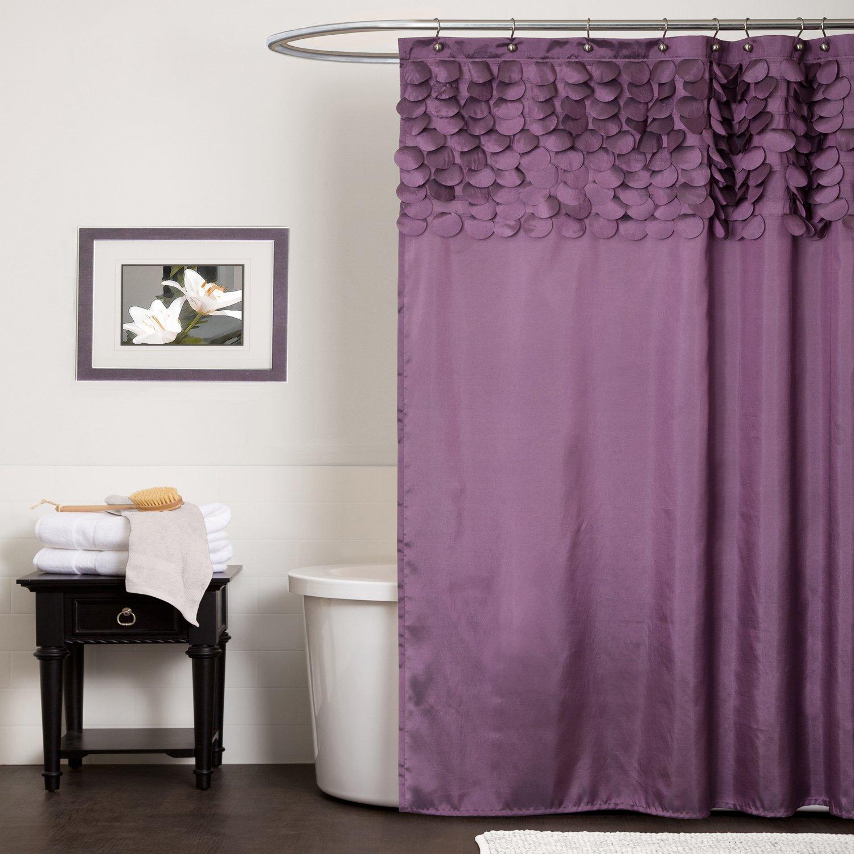 minimalistisk-home-interiør-design-badeværelse-ideer-til-lille-rum-med-fascinerende-hvid-farve-maling-og-skønhed-lilla-stof-glidende-gardiner-dækker-elegante-badekar-som-godt- som-designer-badeværelser-og