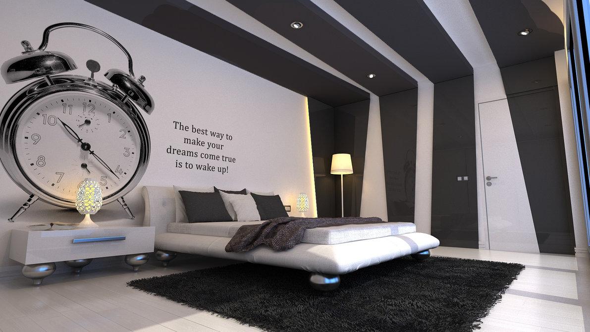 moderne-soveværelse-med-big-ur-tapet-og-pels-tæppe-og-beige-seng-cover-også-brun-blændede-og-træ-gulve