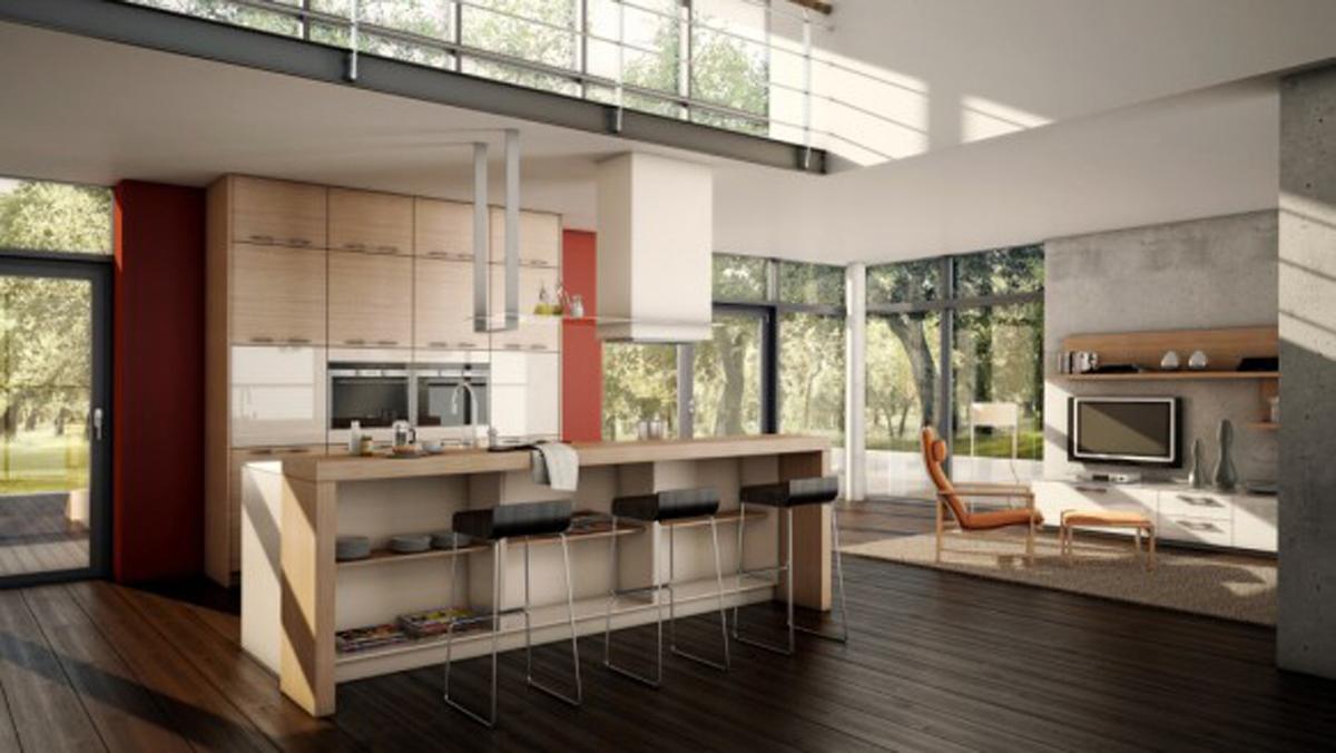 bemærkelsesværdige-køkken-designs-med-øer-og-barer-pisture-kombination-stue-minimalistisk-Smart-dekoration-open-køkken-feats-kabinetter-også-mørke-træ-gulv-rum-ideer