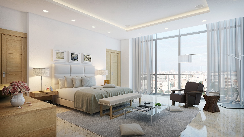 enkel-værelses-design-med-bue-lampe-også-brun-lænestol-og-seng-med-høj-tuftede-hovedgærde