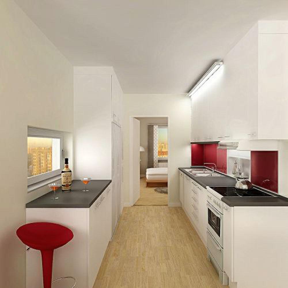 hvid-lejlighed-køkken-med-super-hvid-U-form-køkken-med-sort-bordplade-også-træ-laminat-gulv-og-vask-også-hane-lejlighed-køkken
