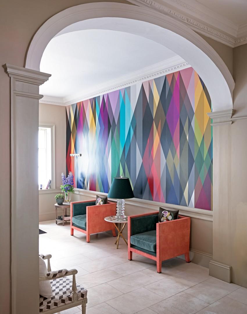 couloir-moderne-blanc-avec-papier peint