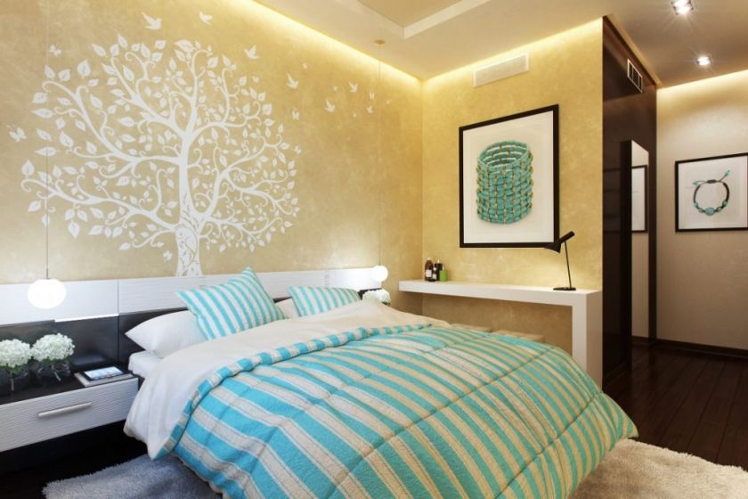 møbleret soveværelse interiør