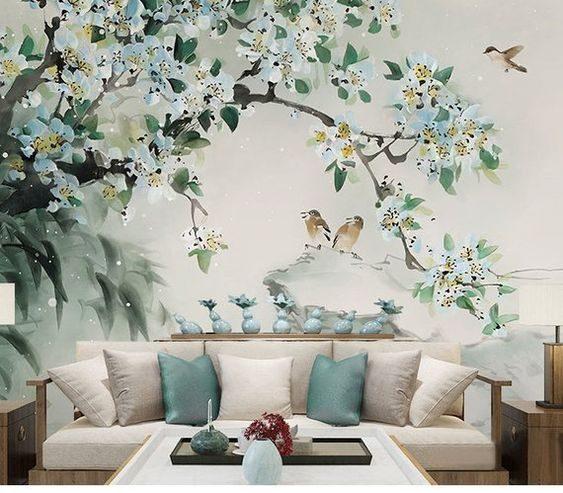 peinture avec arbre et oiseaux