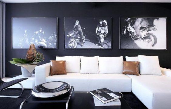 photos en noir et blanc dans le salon
